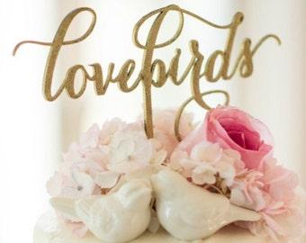 Anniversary Cake Topper, Love Birds Cake Topper, Lovebirds Cake Topper, Wedding Cake Topper, Engagement Cake Topper, Wooden Cake Topper