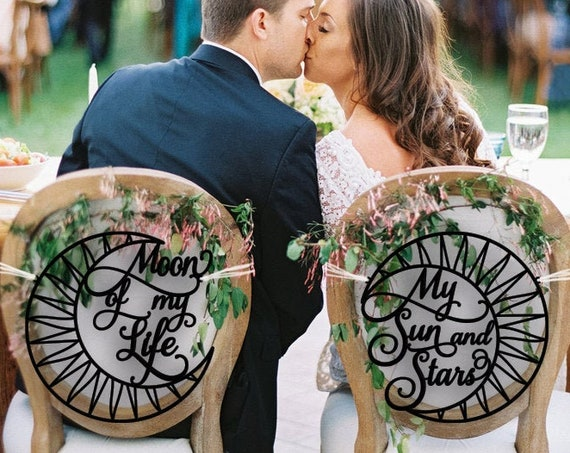 Wedding Chair Signs, Moon of My Life My Sun and Stars Chair Signs, Game of Thrones, Wedding Chair Decoration, Khaleesi Wedding, GOT Wedding