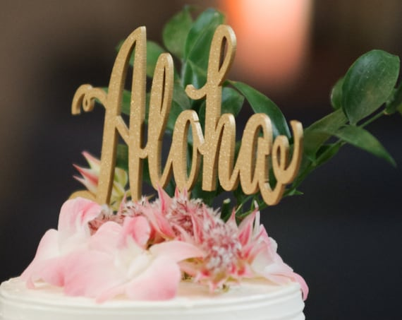 Aloha Cake Topper, Rose Gold Wedding, Wedding Cake Topper, Destination Wedding, Overseas Wedding, Hawaiian Party, Hawaii Decor