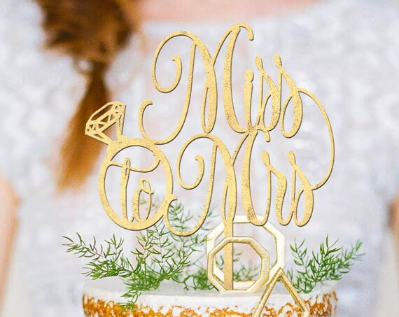 Bridal Shower Cake Topper, Bridal Shower Cake, Miss to Mrs Topper, Miss to Mrs Cake Topper, Gold Cake Topper, Rose Gold Cake Topper