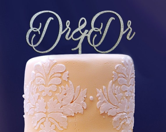 Dr & Dr Cake Topper, Dr and Dr, Wedding Cake Topper, Engagement Cake Topper, Anniversary Cake Topper, Glitter Cake Topper