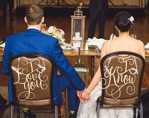 I Love You I know Chair Signs, Star Wars Wedding,  Wedding Reception Chair Signs, Chair Back Signs, Sweet Heart Table Decor, Custom Signs