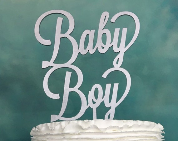 Baby Boy Cake Topper, Baby Shower Cake Topper, Gender Reveal Cake Topper, It's a Boy Cake Topper, Silver Cake Topper, Rustic Cake Topper