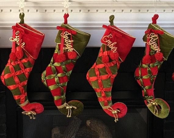 Custom Stocking Name Tag,  Christmas Gift Tag, Rustic Name Tag, Personalized Name Tag, Custom Gift Tag, Gold Gift Tag, Silver Tag