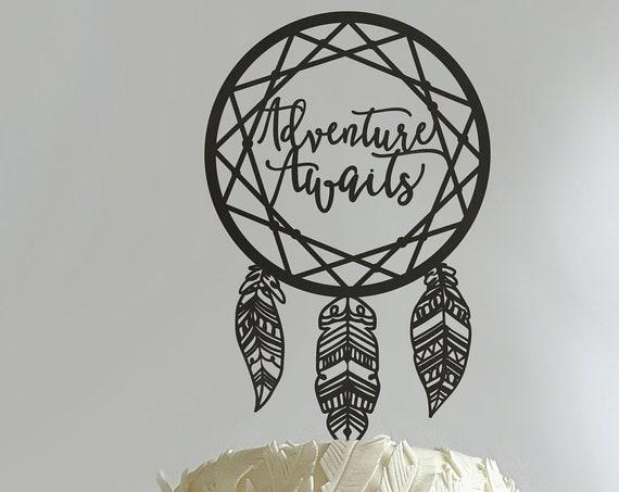 Adventure Awaits Cake Topper, Wedding Cake Topper, Boho Cake Topper, Boho Wedding, Adventure Awaits Wedding Cake Topper, Cake Topper
