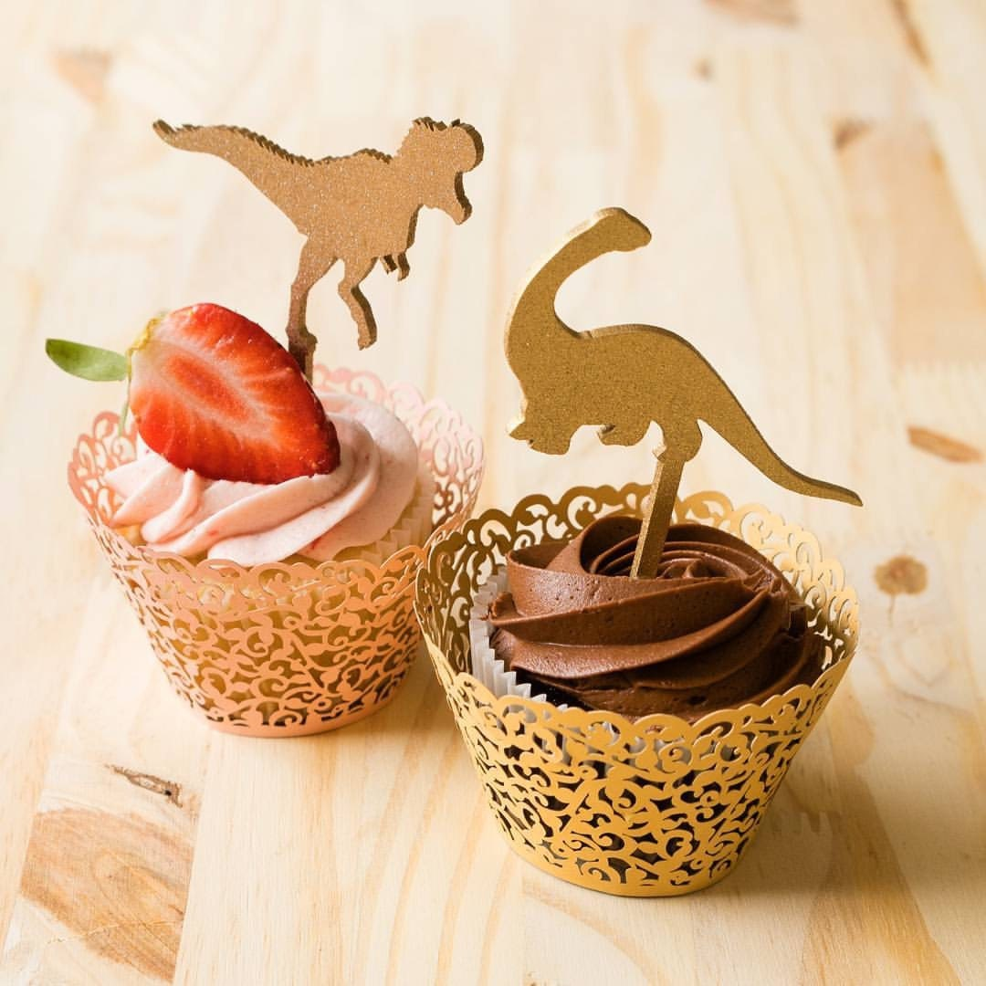 Dinosaur Cupcake Toppers Theme Party Jurassic Park