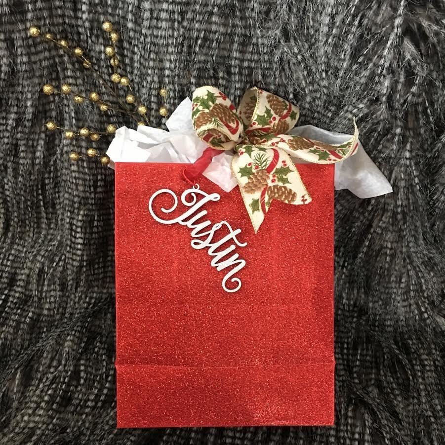 Secret Santa Tag, Custom Name Tag, Christmas Gift Tag, Rustic Name ...