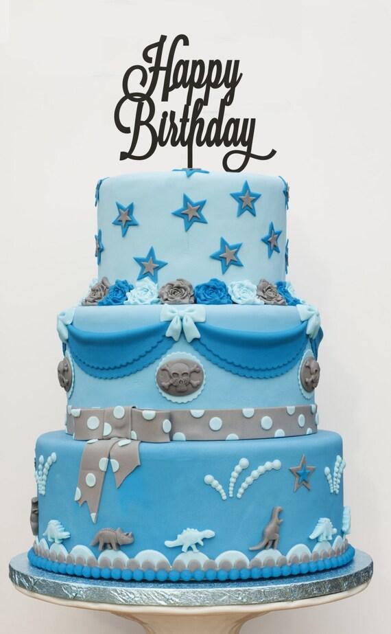 Happy Birthday Cake Topper, Birthday Cake Topper, Birthday Cake, Gold Cake Topper, Rose Gold Cake Topper, Silver Cake Topper, Rustic Cake