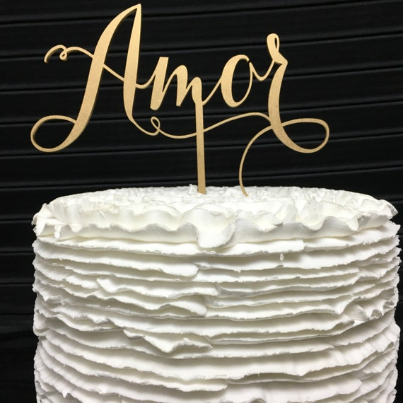 Amor Cake Topper, Wedding Cake Topper, Cake Toppers for Wedding, Gold Cake Topper, Rose Gold Cake Topper, Silver Cake Topper, Wooden Topper