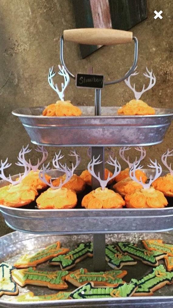 Antler Cupcake Topper Deer Cupcake Topper Deer Head Topper Etsy