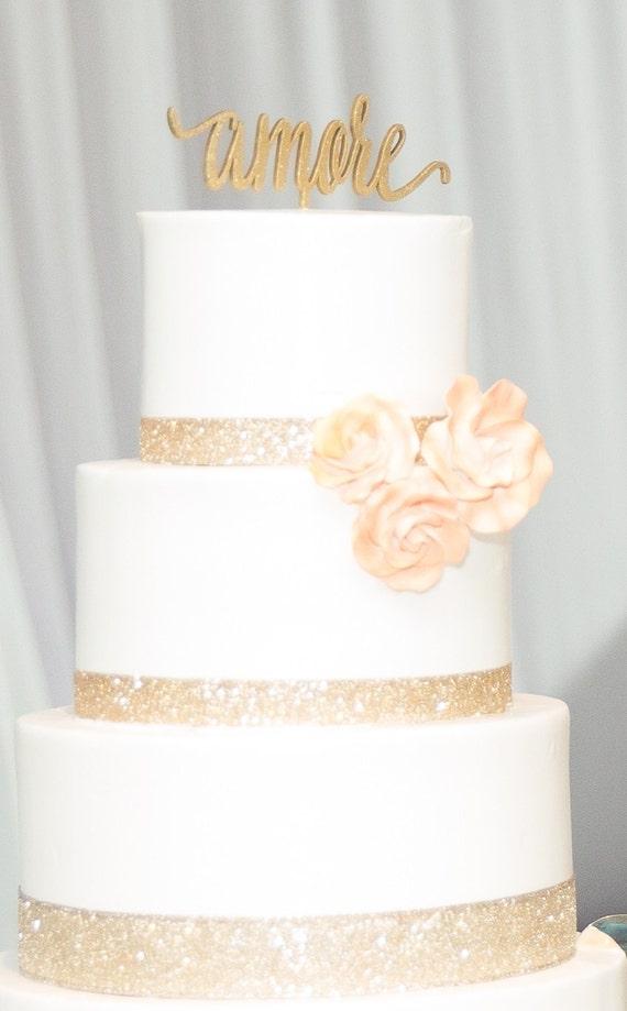 Amore Cake Topper, Wedding Cake Topper, Cake Topper, Love Cake Topper, Engagement Cake Topper, Bridal Shower Cake Topper, Glitter Cake