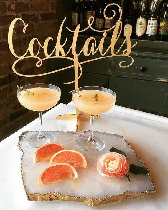 Cocktails Sign, Bridal Shower Sign, Engagement Party, Engagement Sign,  Birthday Party Sign, Drinks Sign, Reception Sign, Gold Wedding Sign