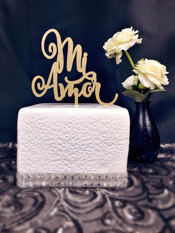 Mi Amor Cake Topper, Wedding Cake Topper, Cake Topper Wedding, Engagement Cake Topper, Bridal Shower Cake Topper, Anniversary Cake Topper