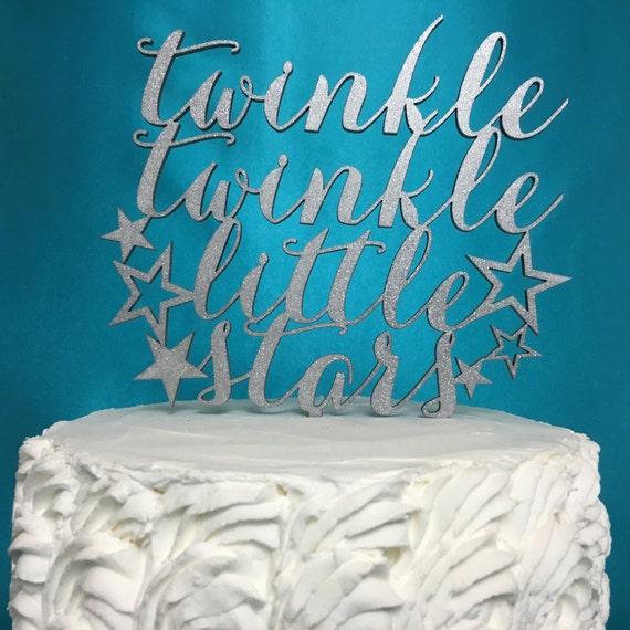 Twins Cake Topper,  Twin Babies Cake Topper, Twins Birthday Cake, Twins Gender Reveal, Glitter Cake Topper, Twinkle Twinkle, Little Stars