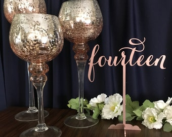 Rose Gold Table Numbers, Wedding Table Numbers,DIY Table Numbers, Wooden Table Numbers, Gold Table Numbers, Laser Cut Wedding Decor