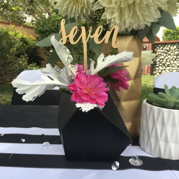 Number On Stick, Gold Table Number, Rose Gold Table Number, Script Table Number, Wedding Centerpiece Numbers, Table Number Glitter