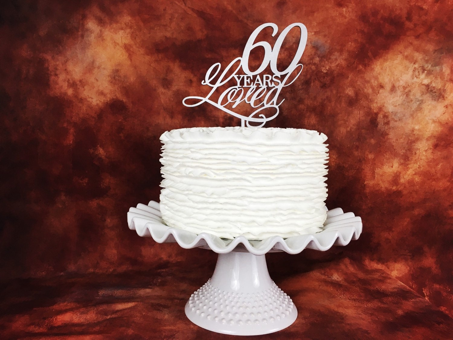 60th Birthday Cake 60 Years Loved Topper Anniversary Gold Silver Glitter