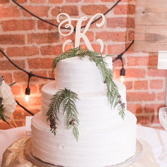 Monogram Cake Topper, Letter Cake Topper, Wedding Cake Topper,  Custom Cake Topper, Wedding Monogram, Glitter Cake Topper, Rose Gold Cake