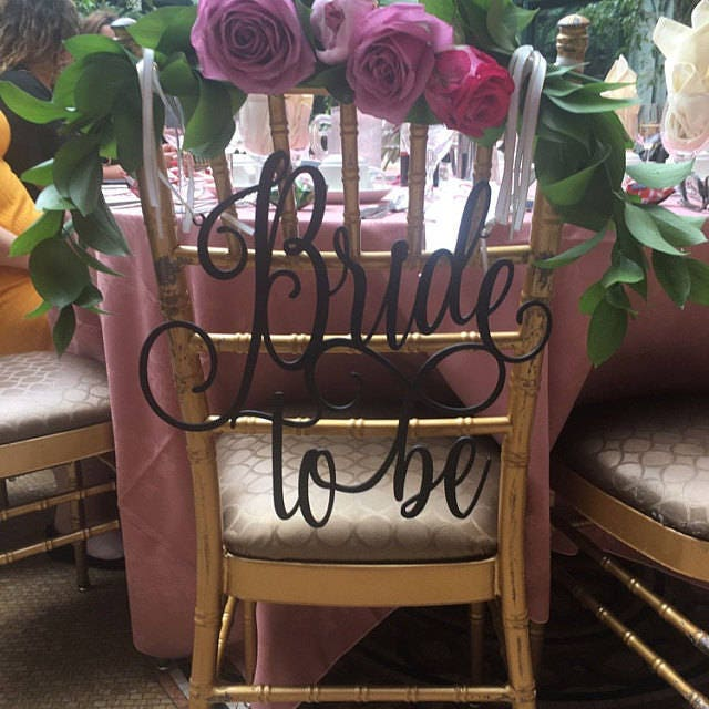 bridal shower decor bridal shower chair sign bride to be chair sign engagement party sign custom sign wooden sign diy sign rustic