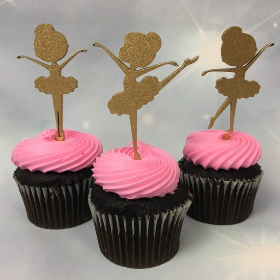 Ballet Party Cupcakes, Baby Shower Toppers, Pink Ballerina, Gold Cupcake Toppers, Ballerina Birthday, Ballerina Toppers, Cupcake Toppers
