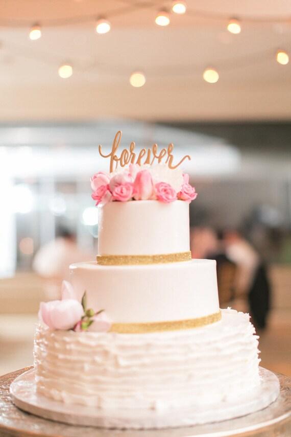 Forever Cake Topper, Wedding Cake Topper, Bridal Shower Cake Topper, Anniversary Cake Topper, Glitter Cake Topper, Wooden Cake Topper