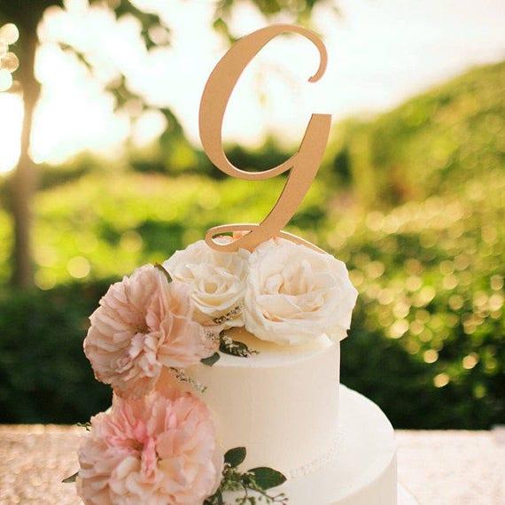 Monogram Cake Topper Letter Cake Topper Wedding Cake Topper | Etsy