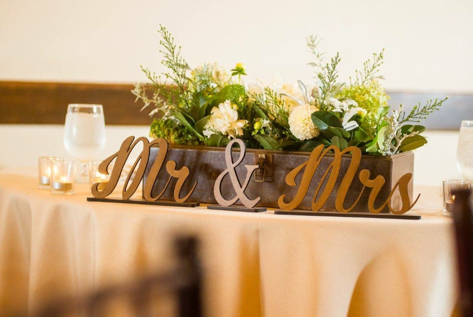 Mr & Mrs Sign, Wedding Sign, Reception Sign, Wooden Table Sign, Mr ...