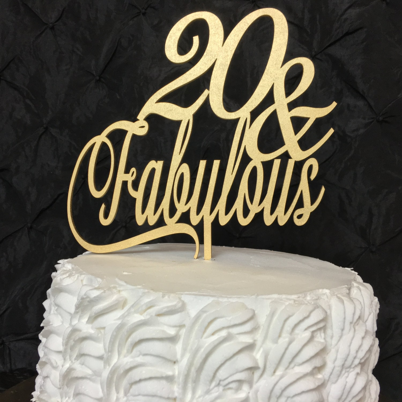 20th Birthday Cake Topper 20 Fabulous Cake Topper Glitter Cake