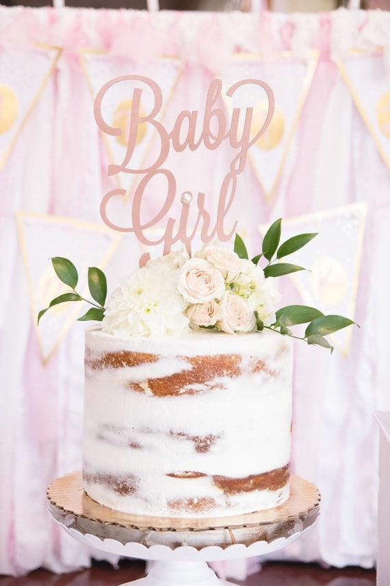 Baby Girl Cake Topper, Baby Shower Cake Topper, Gender Reveal Cake Topper, Rose Gold Baby Shower, Gold Glitter Baby Shower