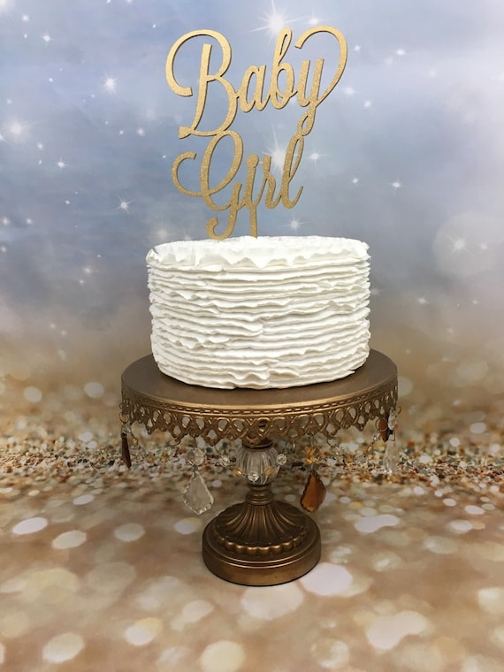 Baby Girl Cake Topper, Baby Shower Cake Topper, Gender Reveal Cake Topper, It's a Girl Cake Topper, Gold Glitter Cake Topper, Cake Topper