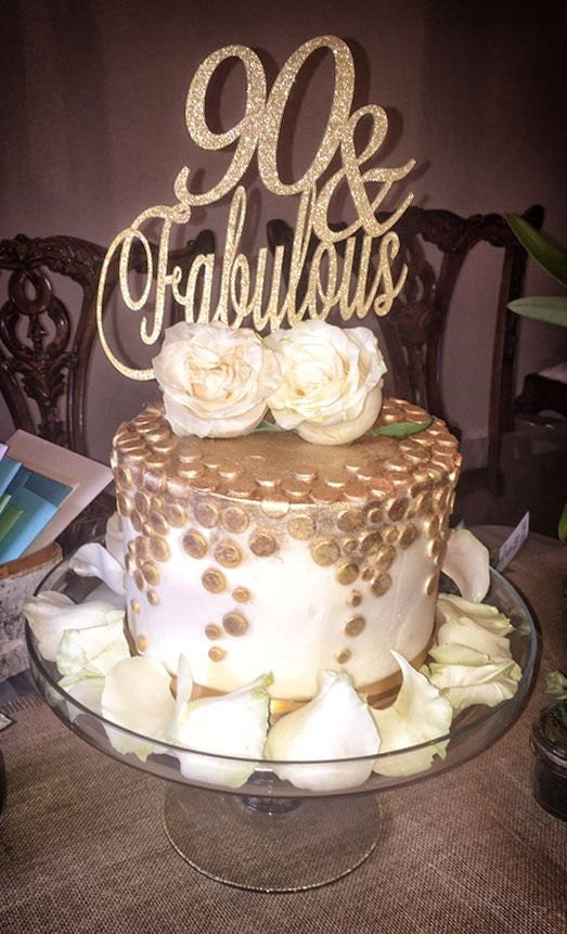 90th Birthday Cake 90 And Fabulous Topper Milestone Gold Silver Glitter