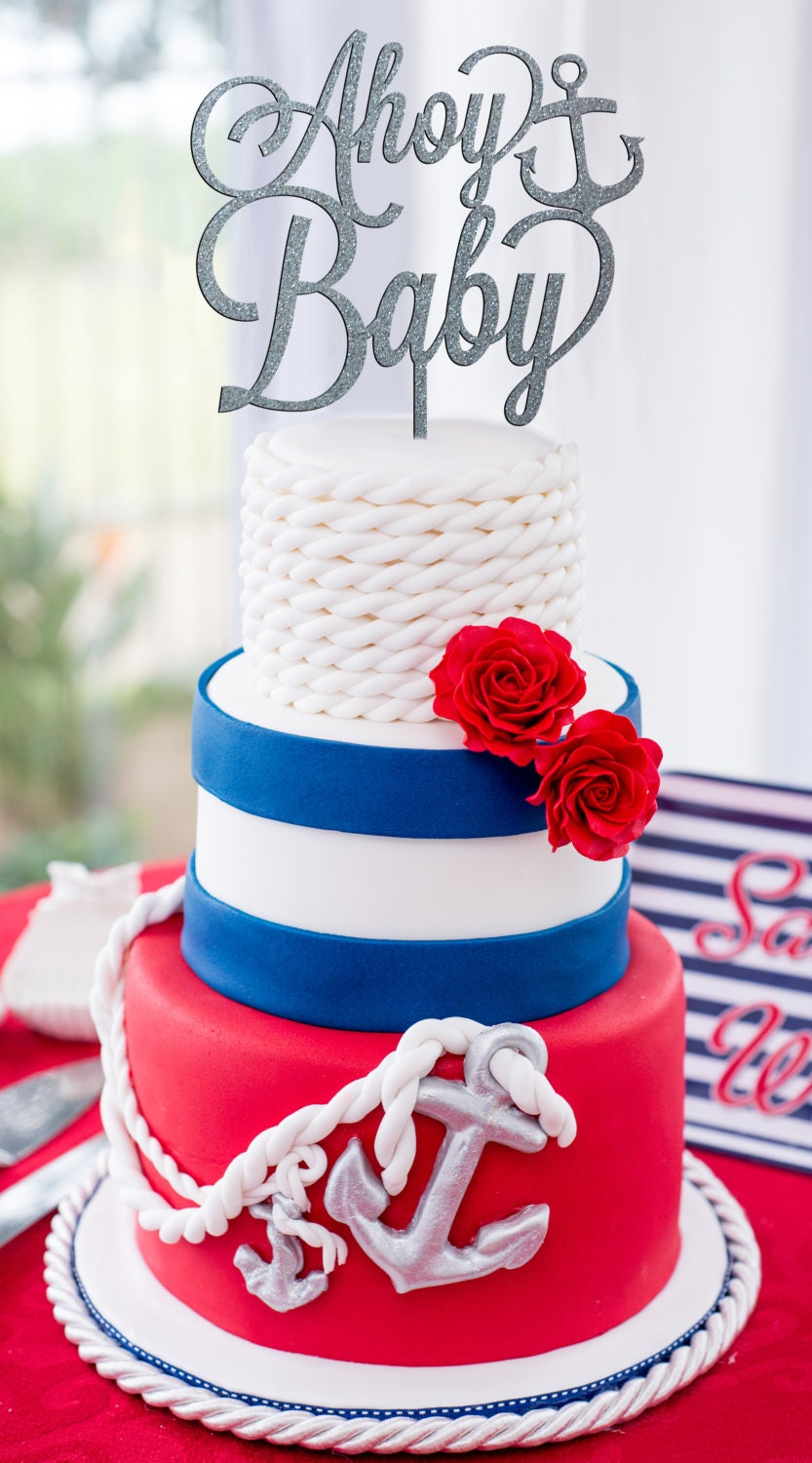 nautical garden decor.htm nautical baby shower ahoy baby cake topper baby shower cake etsy  nautical baby shower ahoy baby cake