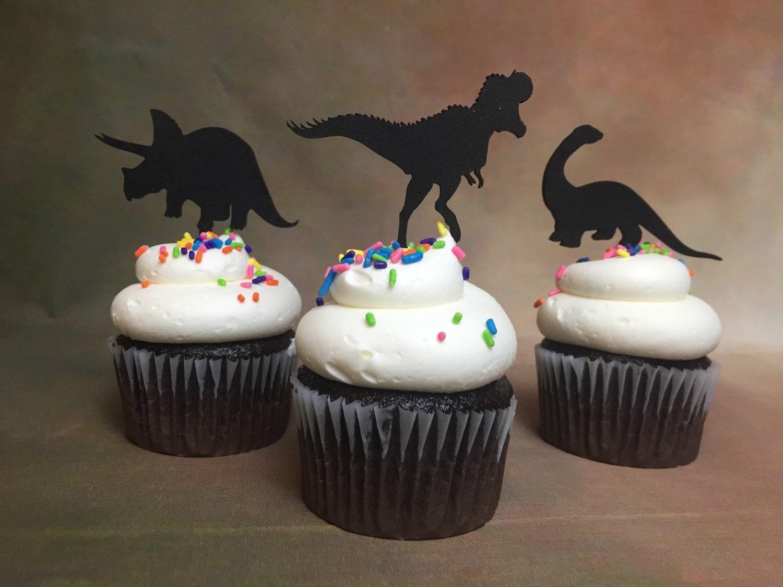 Dinosaur Cupcake Toppers Theme Party Jurassic Park T Rex Birthday Cupcakes