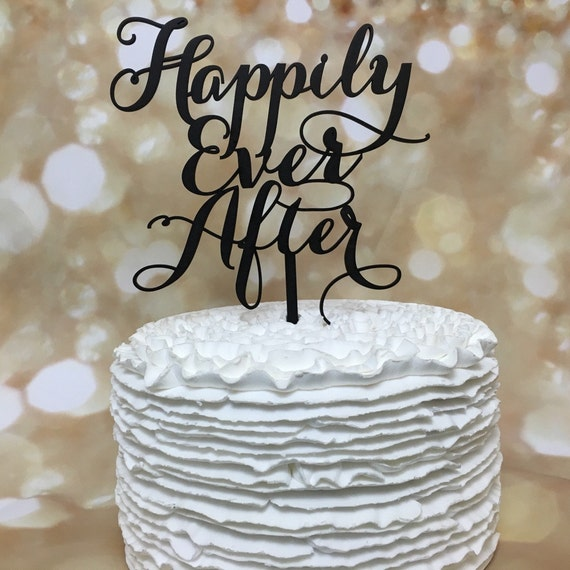 Anniversary Cake Topper, Happily Ever After Cake Topper, Disney Cake, Gold Cake Topper, Glitter Cake Topper, Wooden Cake Topper