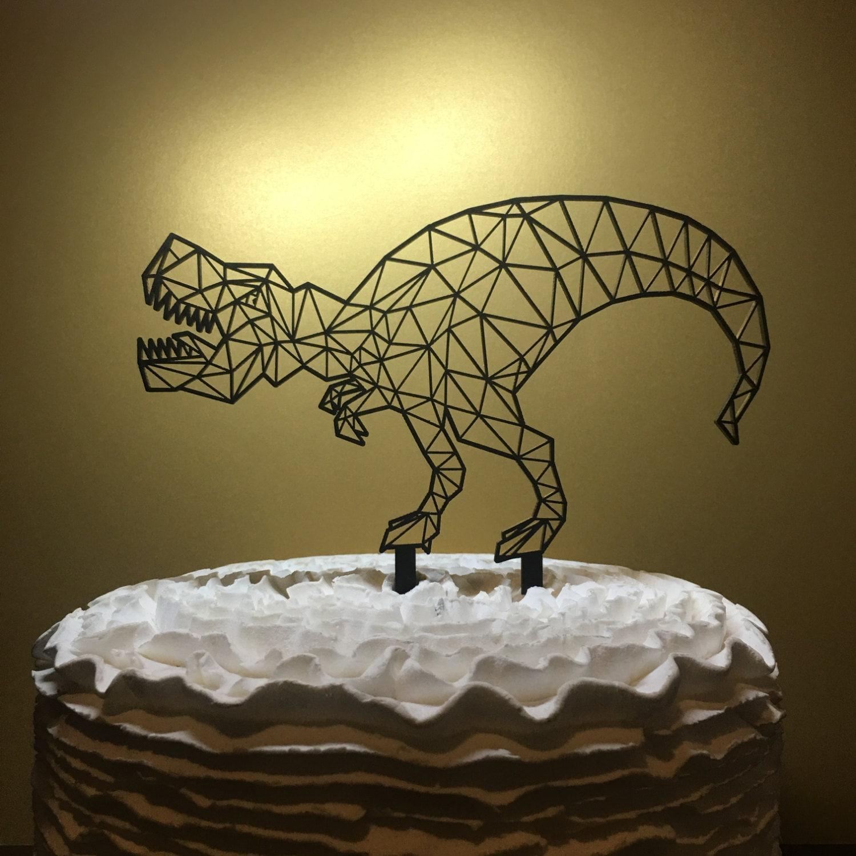 T Rex Cake Topper Dinosaur Geometric