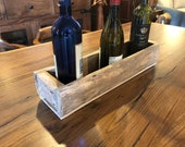 Rustic wine bottle holder storage from reclaimed teak wood