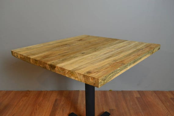 30 X 30 Square Reclaimed Solid Teak Wood Plank Slab Restaurant Table Salvaged From Old Houses Barns Fishing Boats