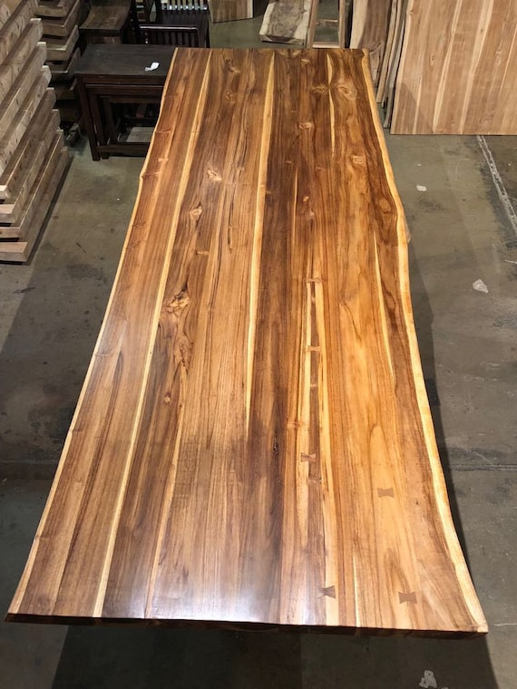 Reclaimed Salvaged Live Edge Teak Wood Slab Dining Table With Metal Legs Rustic Natural Industrial