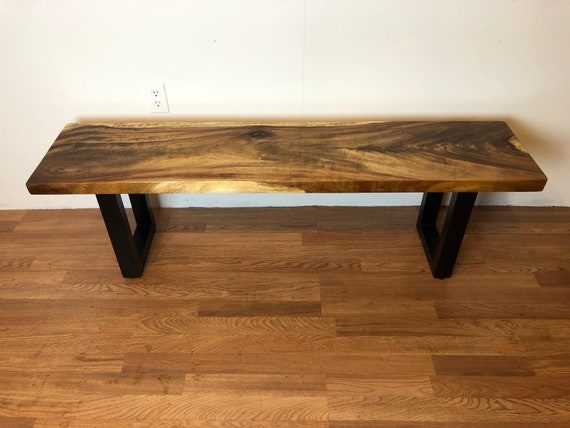 Fantastic Natural Live Edge Solid Acacia Wood Bench 59 X 14 X 18 H With Metal Base Dining Bench Kitchen Bench Dining Table Bench Hallway Bench Pdpeps Interior Chair Design Pdpepsorg