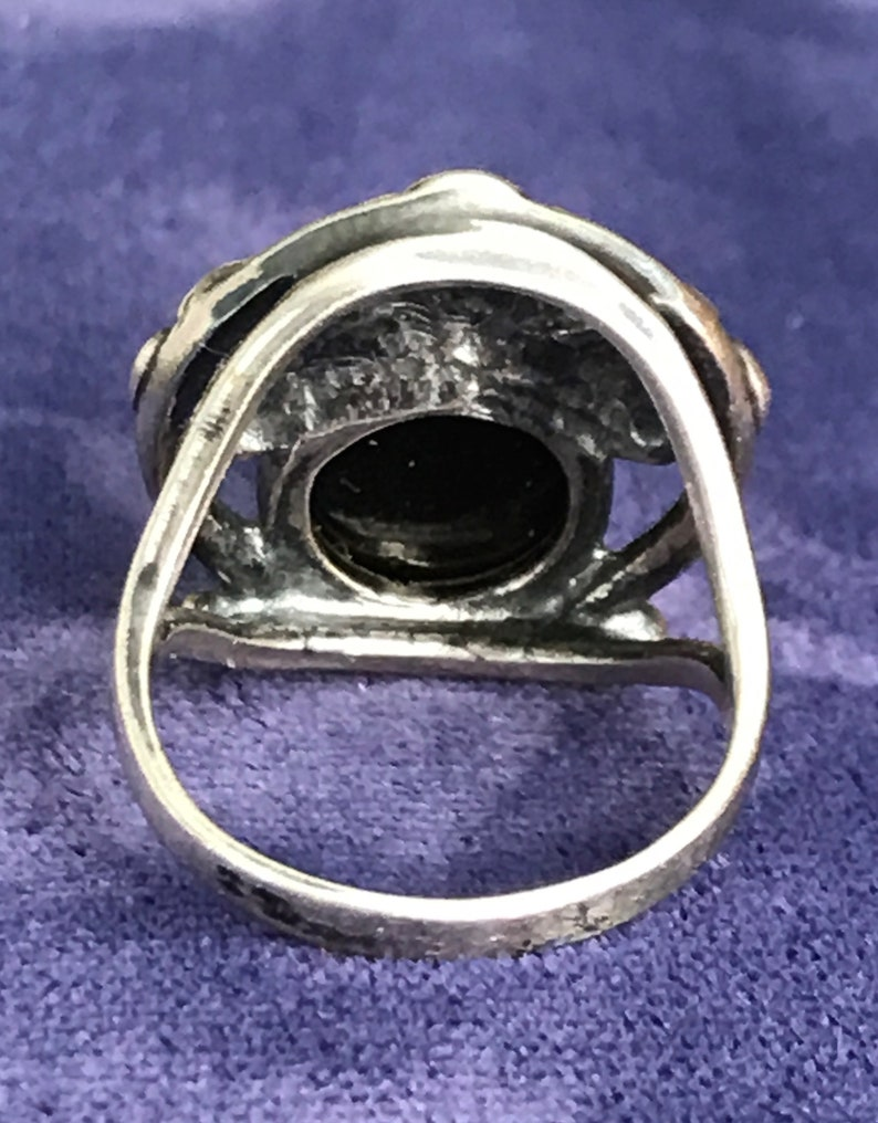 Vintage Sterling Silver Amber Floral Art Nouveau Style Ring