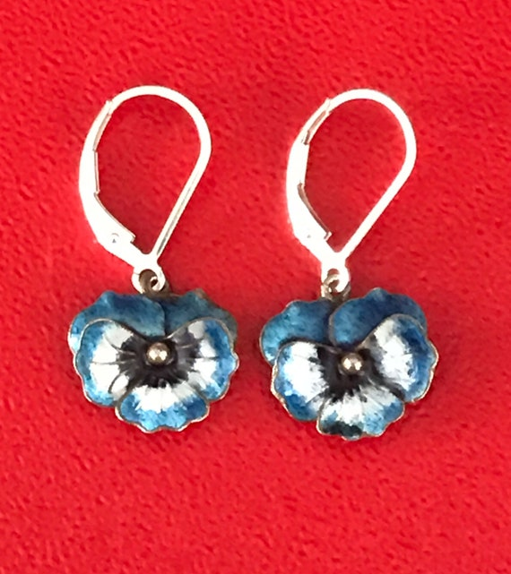Vintage Sterling Silver Enamel Pansy Earrings
