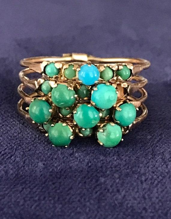 Vintage 14K Gold Turquoise Harem Ring