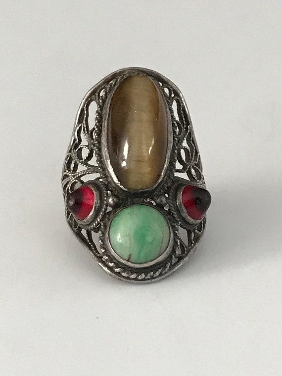 Vintage Sterling Silver Multi Stone Filigree Ring