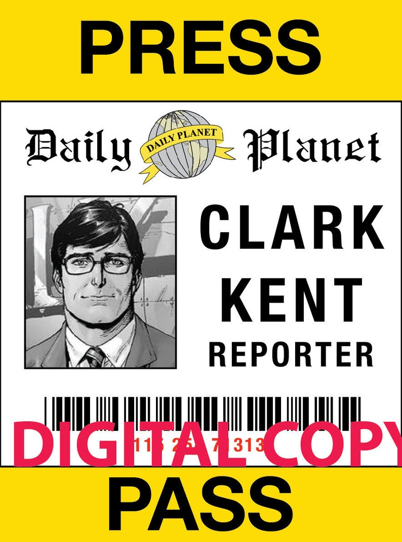 photo regarding Lois Lane Press Pass Printable identify Lead DownLaod PDF- Clark Kent Lois Lane thrust p for gown (Electronic Reproduction Simply just, Print your personal)