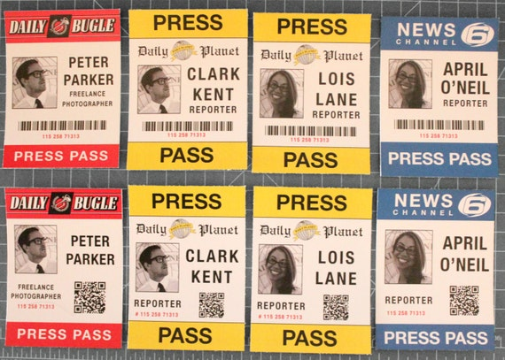 Personalized Clark Kent Lois Lane Peter Parker Or April O Neil Press Pass For Costume
