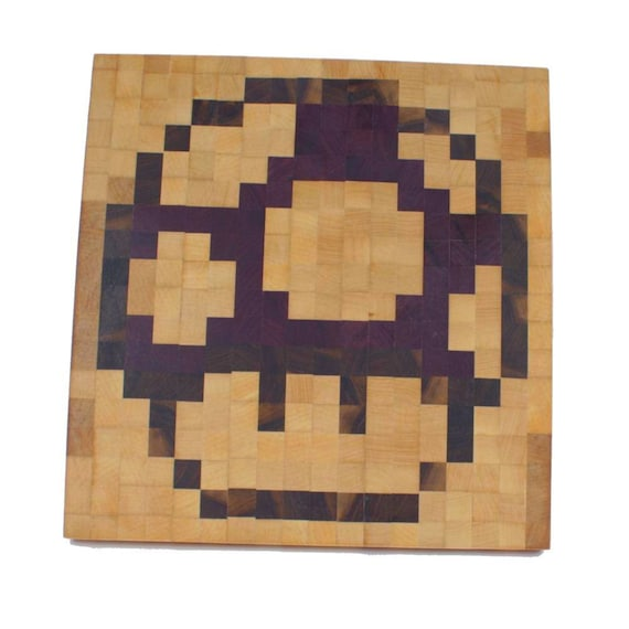 Super Mario Bros Mushroom Pixel Art Cutting Board Etsy