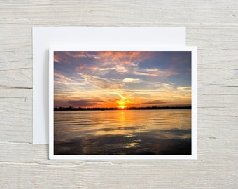 Sunset Photo Art Note Card Handmade with Envelope, Florida Intracoastal, Halifax River, Nature Art Card, Picture Card, Sunset Photography