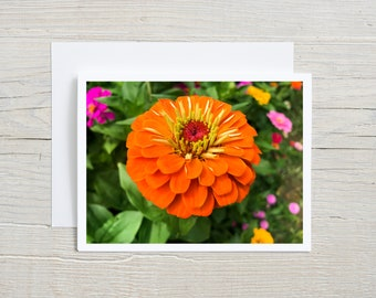 Flower Photo Art Note Card with Premium Envelope, Nature Photography, Orange Botanical Art Invitation, Floral Stationary, Greeting Card