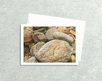 River Rock Note Card   Photo Card with Premium Envelope, Send A Picture of this River Rock in Mountain Stream to an outdoor lover friend
