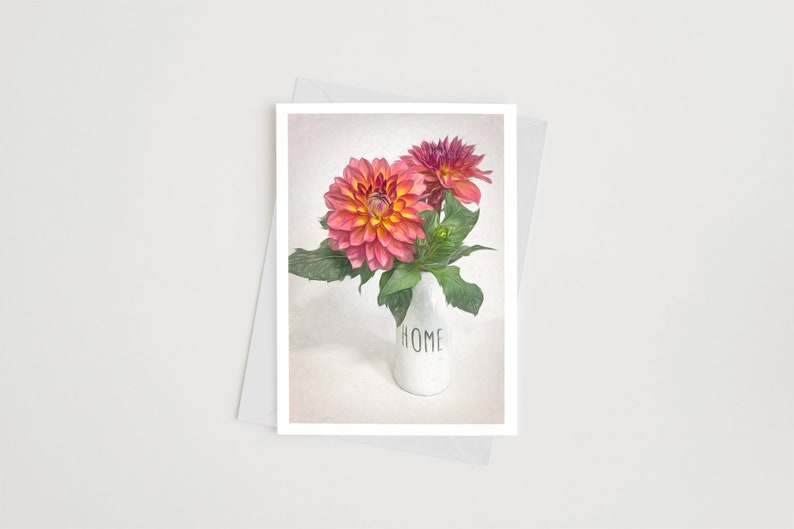 Handmade Photo Note Cards with Envelopes Dahlia Flower Art image 0